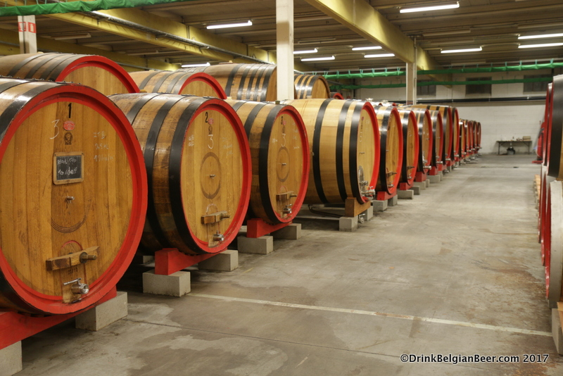 A row of foeders at 3 Fonteinen's lambik-O-droom in Lot, Belgium.