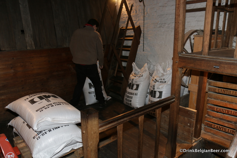 The first step in the brewing process is getting the barley and wheat located on the top floor of the brewery into the malt crusher on the floor below.