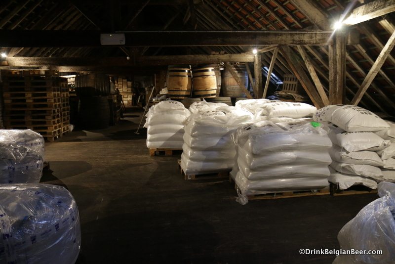 Another view inside the top floor/attic at Brasserie Cantillon, with sacks of grain on the right.