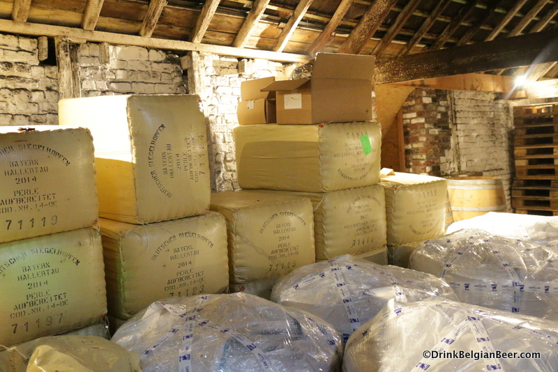 Bags of aged (2014) hops in the attic (top floor) of the brewery.