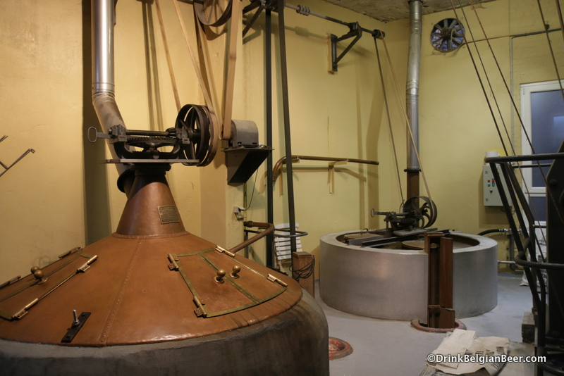Another view of the two boiling kettles at Brasserie Cantillon.