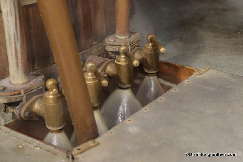 Hot wort (a tea-like liquid) flows through the filter taps on the mash tun at Brasserie Cantillon.
