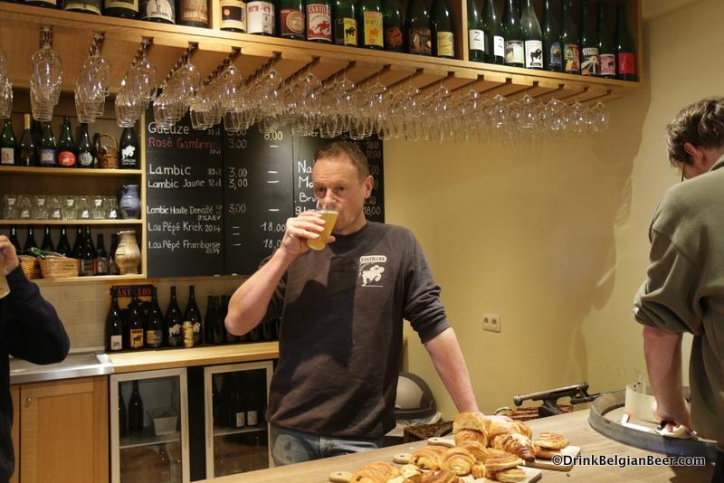 Brasserie Cantillon brewmaster Jean Van Roy tasting the warm wort.
