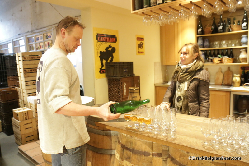 Another shot of Jean Van Roy pouring Armagnac barrel-aged 50 N 4 E.