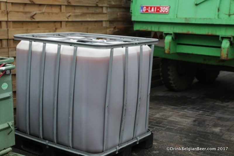 A container full of cooled wort outside the brewery at 3 Fonteinen, ready to be taken to the lambik-0-droom in Lot.