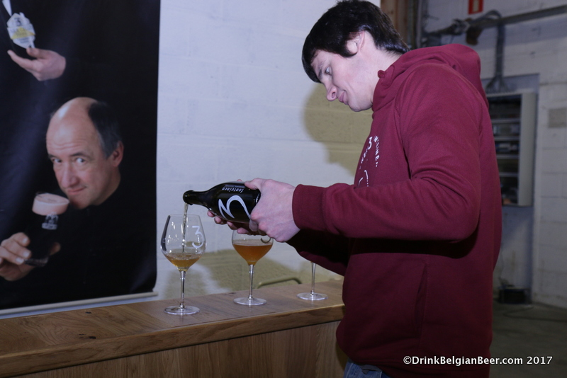 Michael Blancquaert pouring glasses of an experimental 3 Fonteinen peach lambic. There is a lot of experimentation going on at 3 Fonteinen these days!