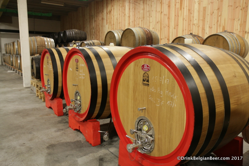 These 10 hectoliter Italian built foeders are filled with cherries macerating with lambic.