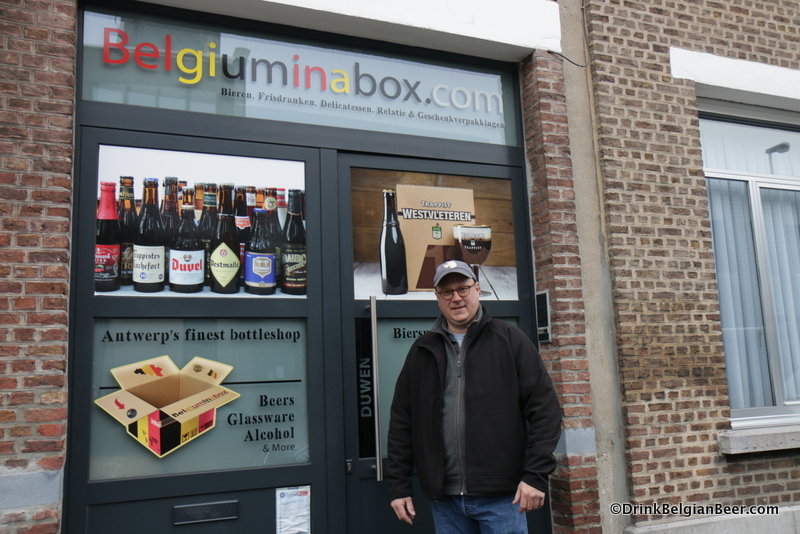 Owner Kurt Verbiest in front of his Belgium in a Box shop in Antwerp.
