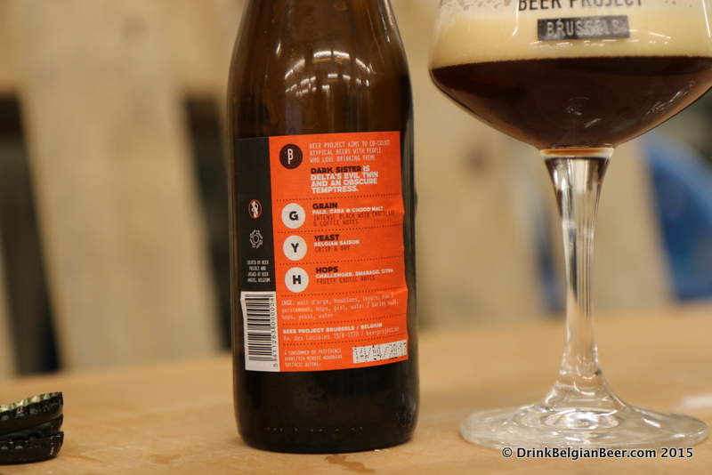 The back label of Dark Sister from Brussels Beer Project, a black IPA.