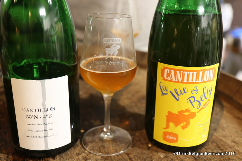 Cantillon 50 Degrees North 4 Degrees East (left) with La Vie est Belge on the right. Two of the world's great beers.