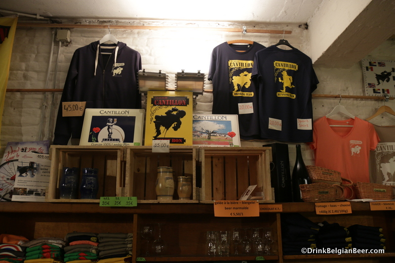 Some of the items available in the shop at Cantillon, late November 2017.