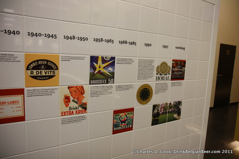 Some of the beer history covered on a wall at De Lambiek.