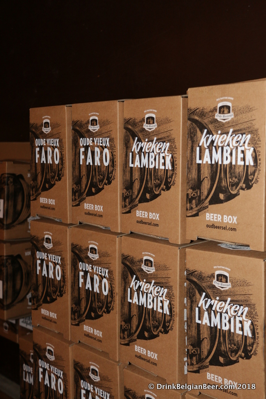 New 3 liter bag in boxes of lambic at Oud Beersel.