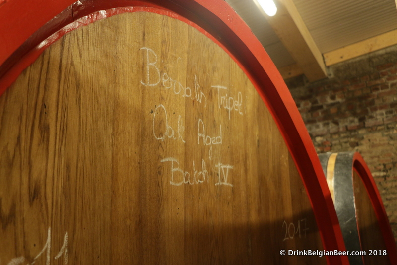 Batch 4 of Bersalis Oak Aged Tripel resides in this foeder at Oud Beersel.