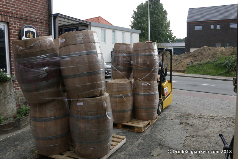 Another shot of 225-liter barrels arriving on August 29, 2018.