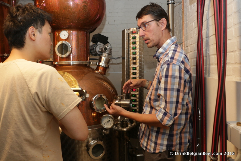 Distiller Olivier Vanderlinden explains some of the distilling process.