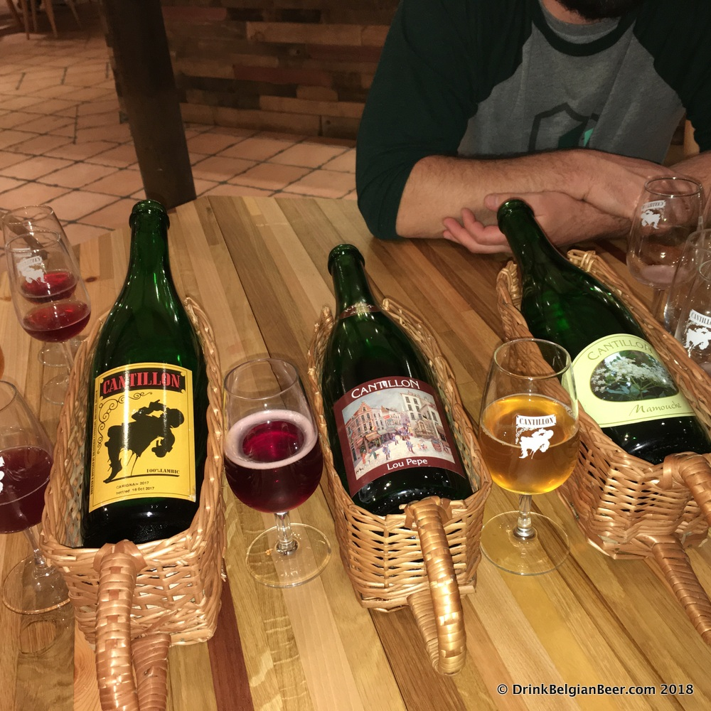 A 2015 Cantillon Lou Pepe Kriek (glass on left) along with a Carignan (left) and Mamouche (right.)