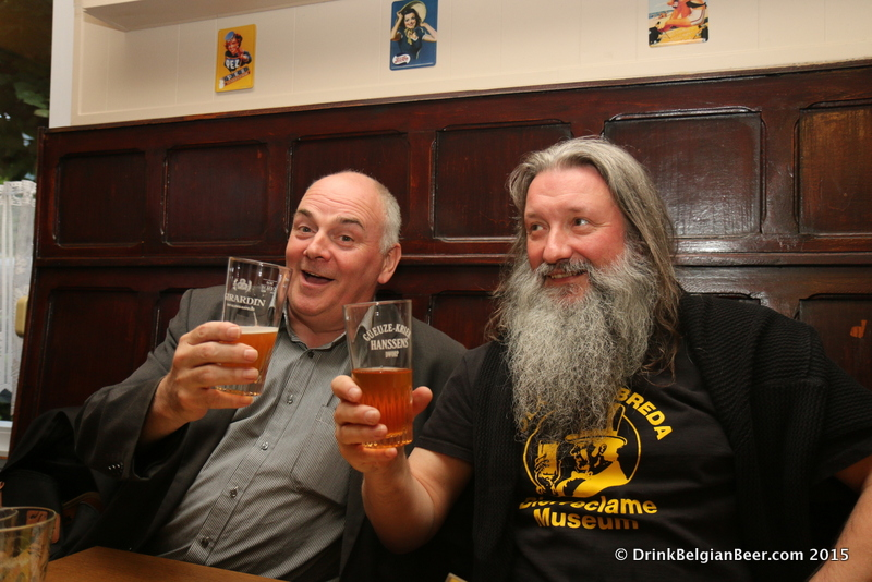 Lambic lover Patrick van der Spiegel (left) with Wanne Madaljins of De Lambikstoempers.