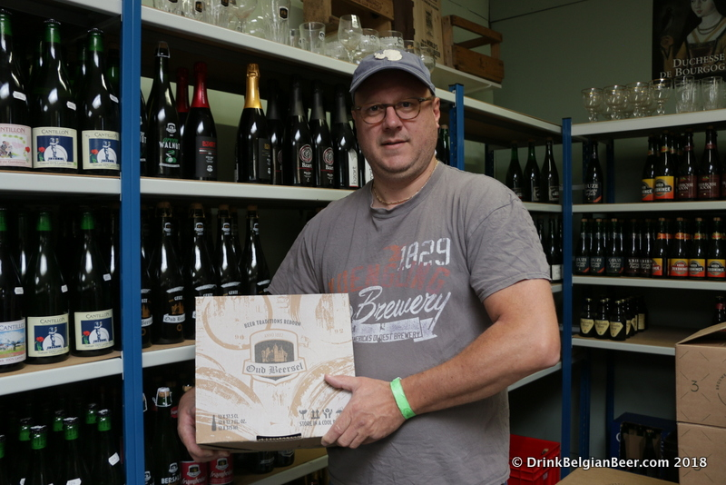 Belgium in a Box owner Kurt Verbiest in his shop with some Oud Beersel beers.