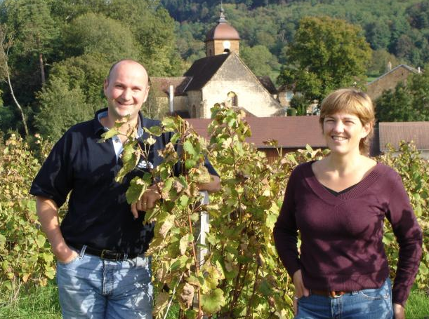 Bénédicte (right) and Stéphane Tissot (left) of Domaine André et Mireille Tissot, Montigny-lès-Arsures, France.