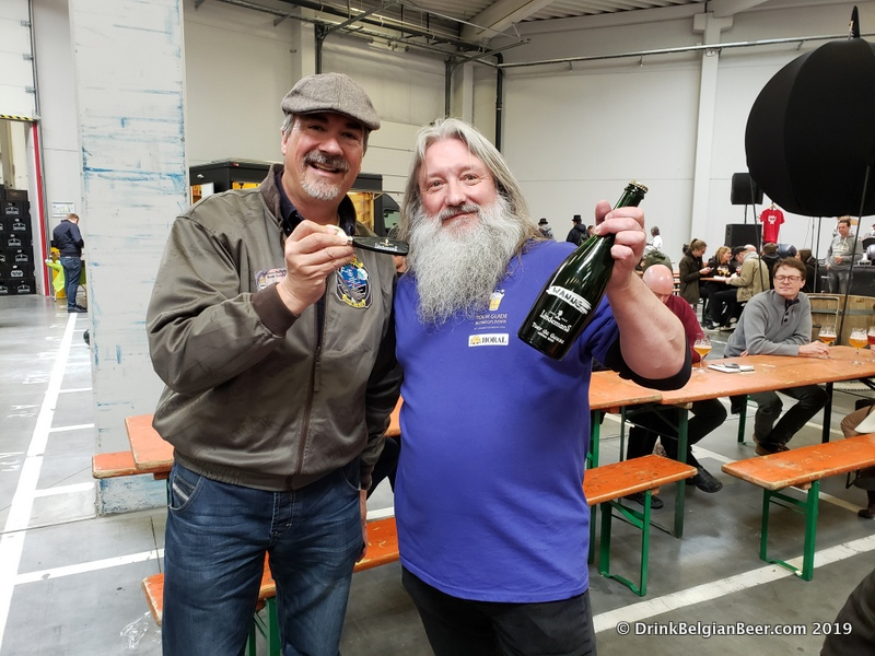 "Here, Johan ""Wanne"" Madalijns, (right) President of the De Lambikstoempers beer club, with Stu Stuart of BelgianBeerMe! beer tours (left) at Brouwerij Lindemans during Toer de Geuze 2019."