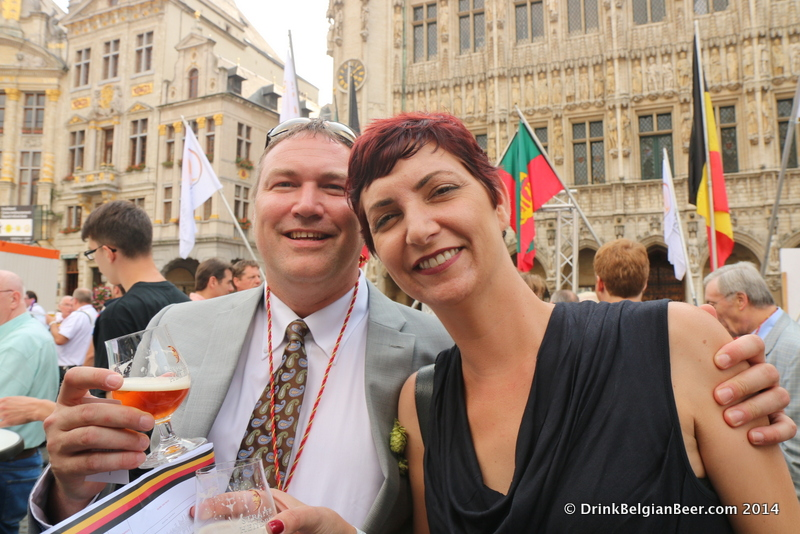 Christopher and Jen Lively on the Grand Place in Brussels in September 2014.
