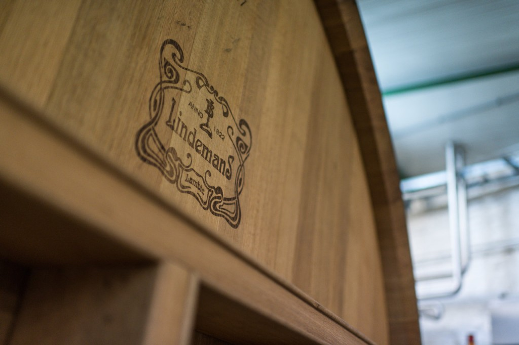 The Lindemans logo on a barrel. Photo courtesy Brouwerij Lindemans.