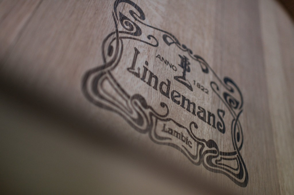 The logo of Brouwerij Lindemans on a foeder. Photo courtesy Brouwerij Lindemans.