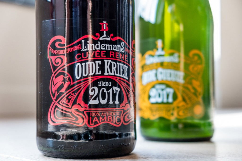 The new labels for Lindemans Oude Kriek Cuvée René and Oude Gueuze Cuvée René. Photo courtesy Brouwerij Lindemans.