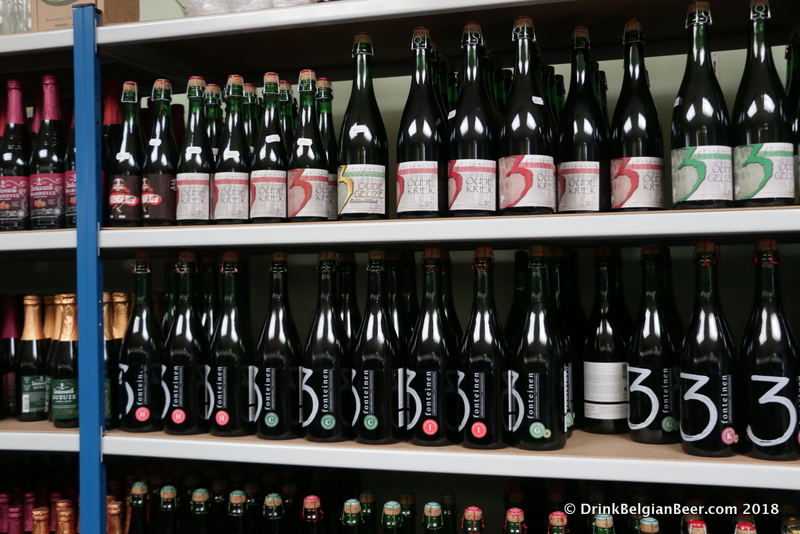 A shelf full of 3 Fonteinen beers in the Belgium in a Box shop.