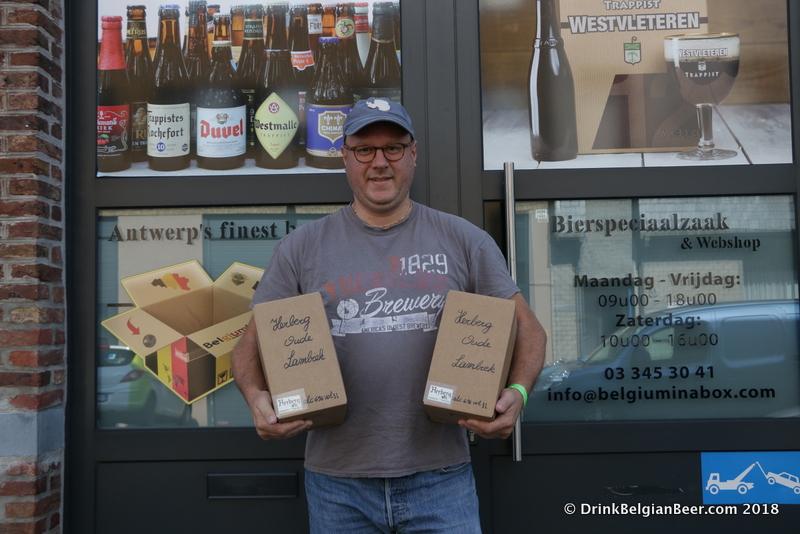 Belgium in a Box owner Kurt Verbiest with 10-liter boxes of Oude Lambiek from Brouwerij Den Herberg in Buizingen, near Halle.