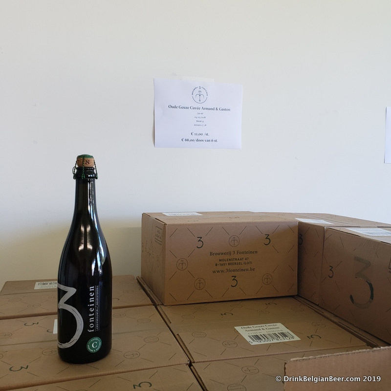 3 Fonteinen Armand and Gaston Oude Geuze, inside the current lambik-O-droom shop, spring 2019.