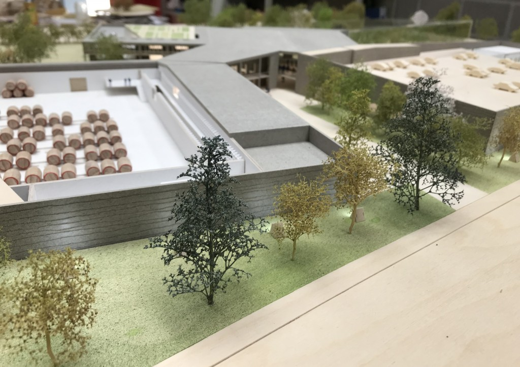 Another view of the scale model of the planned 3 Fonteinen expansion. The building in the center foreground will house the barrel room.