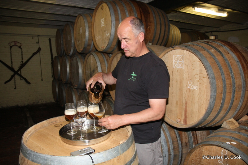 """Armand Debelder pouring Armand 4 (which would later be known as the """"Seasons Set"""") in May 2010. This was before the beer had been named or labeled. A early pour!"""