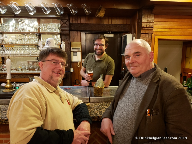 "In the background, behind the bar, is Thomas Debelder of Restaurant 3 Fonteinen. Foreground, left, is Chuck Cook of DrinkBelgianBeer.com, and right is Patrick Van der Spiegel, co-founder of ""The Land of Geuze."""