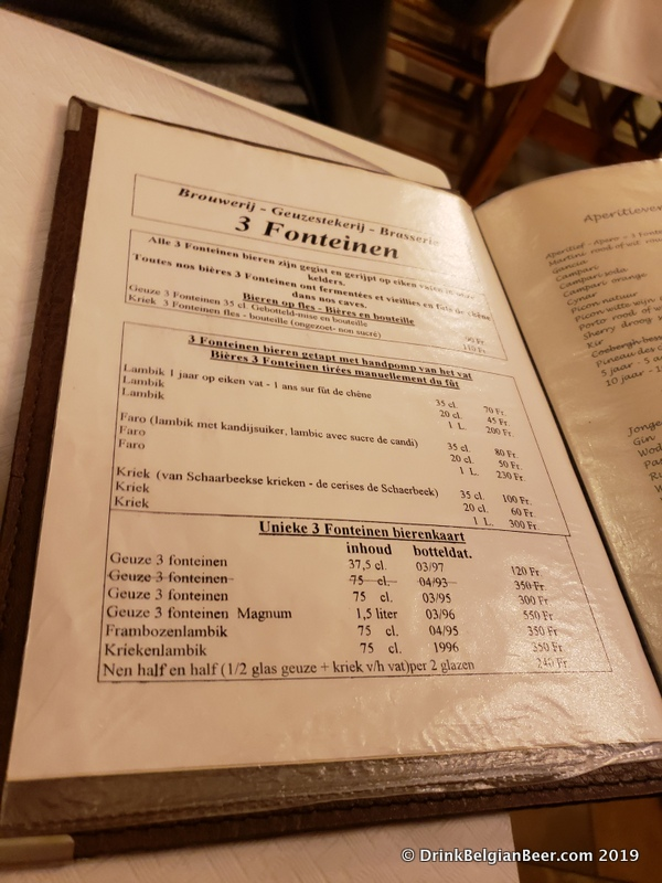 An old Restaurant 3 Fonteinen menu dating to sometime from the late 1990's to 2001.