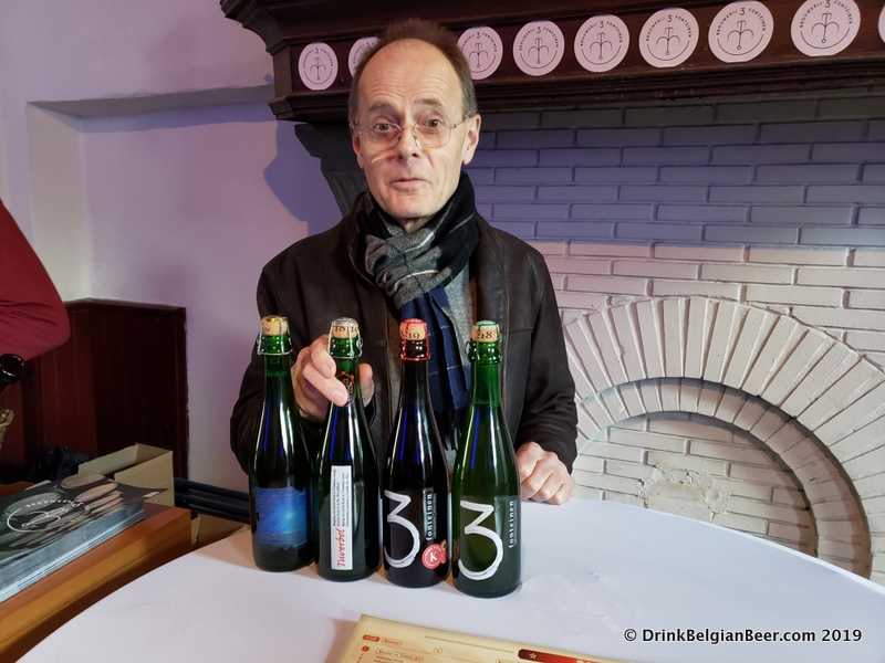 Marc Beirens of Brouwerij Loterbol, holding a Tuverbol beer at the 3 Fonteinen booth. Tuverbol is a blend of Loterbol Blonde with 3 Fonteinen lambic.