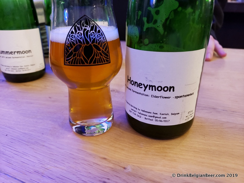 Bokfont's Honeymoon, a spontaneously fermented lambic beer made with elderflower.