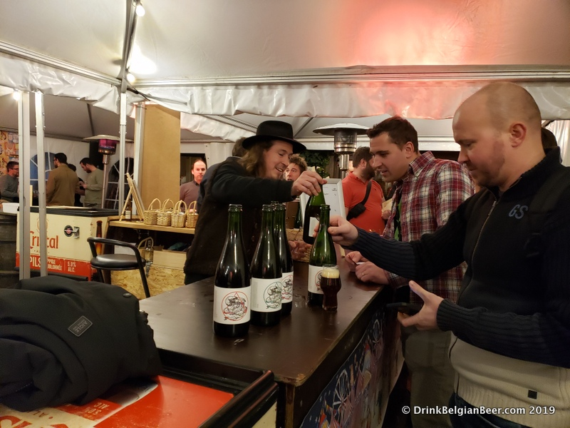 The Antidoot-Wilde Fermenten booth at Gebrande Wiining, December 2019.