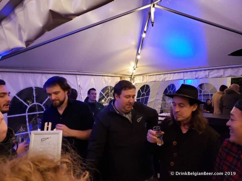 "Good times at the ""Circus"" edition beer festival at De Gebrande Winning, December 8, 2019. From left, Raf Soef of Bokke; Sam Hellemans of Bofkont; and right, Tom Jacobs of Antidoot-Wilde Fermenten."