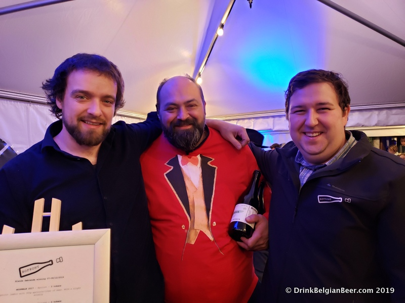 From left to right, Raf Soef of Bokke; Raf Stimorol Sainte, chef and owner of De Gebrande Winning; and Sam Hellemans of the great new Bofkont lambic blendery.